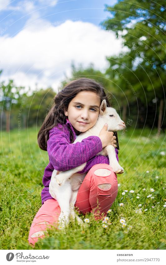Little girl hugging a goat on a field Woman Child Human being Vacation & Travel Nature Summer Plant Beautiful Green White Tree Flower Animal Joy Girl Lifestyle