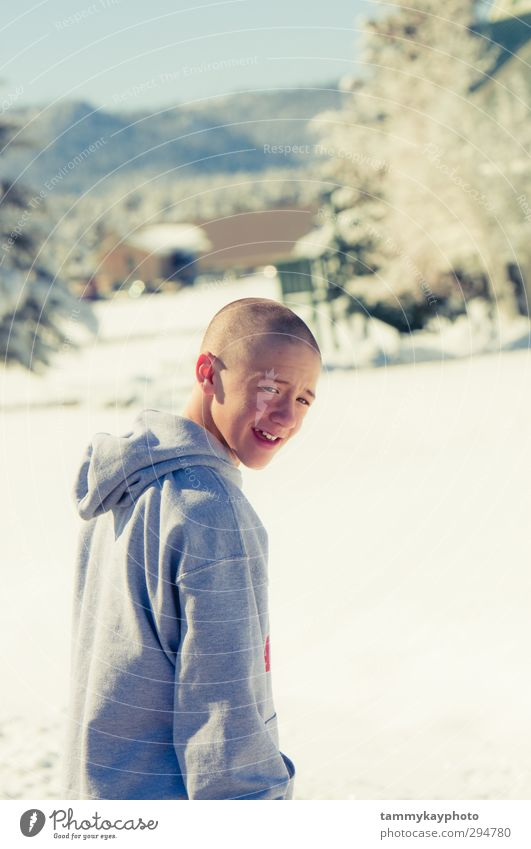 Bald teen boy smiling in the snow Joy Vacation & Travel Winter Snow Winter vacation Mountain Boy (child) Young man Youth (Young adults) 1 Human being