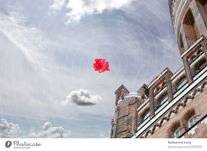 Sky Blue City Red Clouds Love Wall (building) Architecture Wall (barrier) Building Air Brown Dream Flying Facade Large