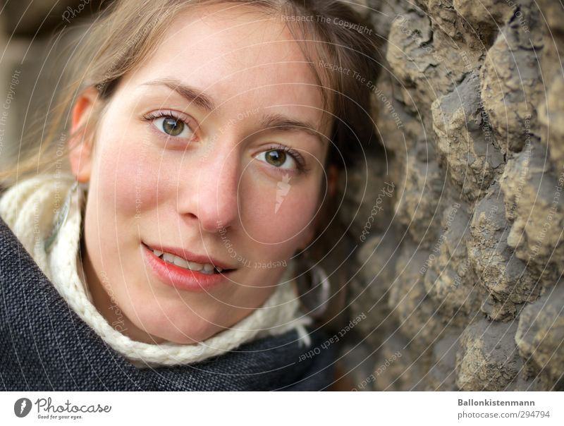 Eyes look. Human being Feminine Young woman Youth (Young adults) 1 18 - 30 years Adults Smiling Looking Friendliness Good Beautiful Natural Positive Soft