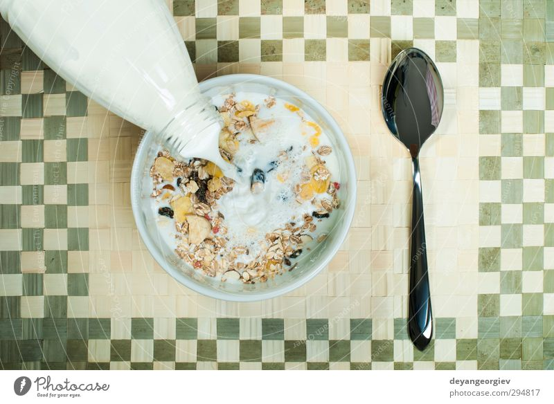 Muesli breakfast in package Dessert Nutrition Breakfast Vegetarian diet Diet Bowl Spoon Table Energy grain Meal milk Snack Horizontal Wheat nuts light Gourmet