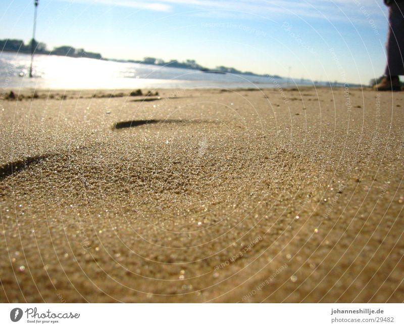 Shoe imprint in sand Beach Footprint Weser Ocean Lake Summer Sand Sun River