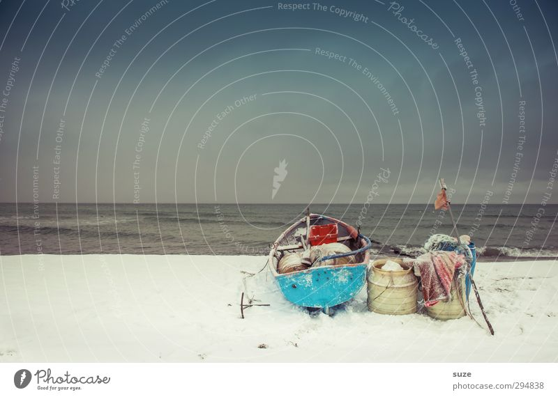 When the fish disappeared Calm Beach Ocean Island Winter Snow Environment Nature Landscape Elements Sky Cloudless sky Horizon Coast Baltic Sea Fishing boat