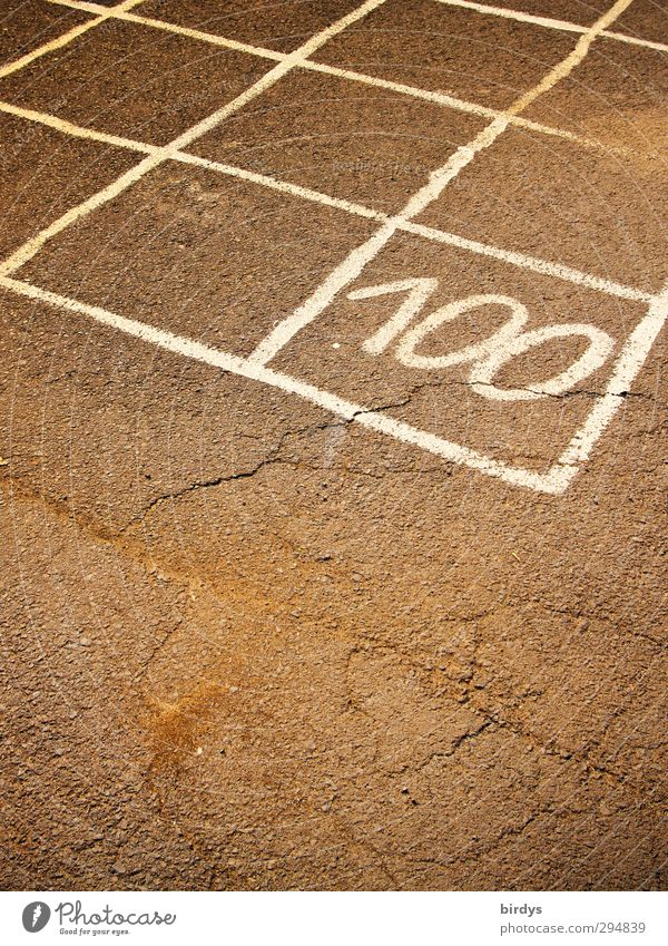 Q 100 Children's game Digits and numbers Esthetic Simple Original Brown White Infancy Joy Grid Partially visible Schoolyard Asphalt Colour photo Subdued colour