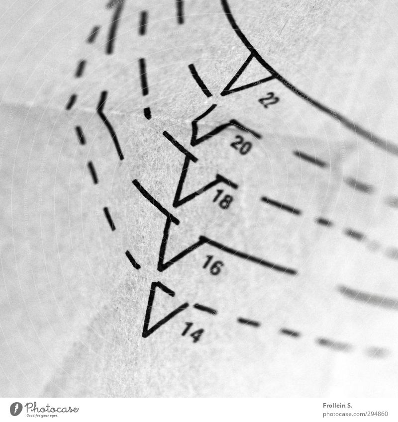 altitude difference Paper cut pattern Digits and numbers Gray Black Accuracy Sewing cut to size Arrow Line Arch Triangle Wrinkles Orientation
