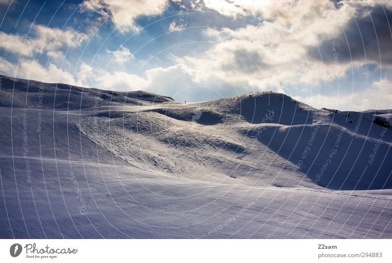 Light and shadow Vacation & Travel Winter sports Skiing Nature Landscape Snow Hill Alps Mountain Esthetic Dark Relaxation Leisure and hobbies Idyll Environment