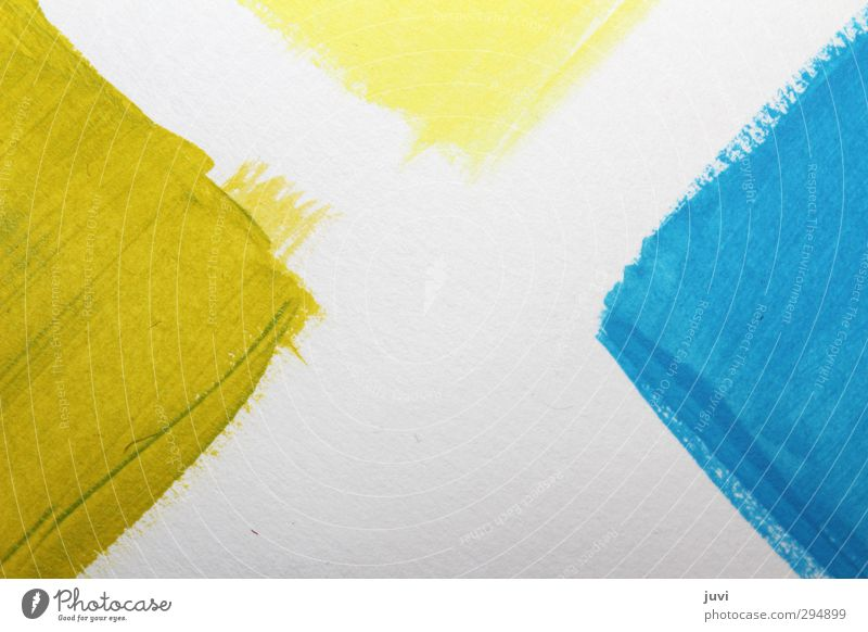 Blue Green White Yellow Dye Art Paper Painting and drawing (object) Sharp-edged Triangle Play of colours Acrylic paint Comparison Brush stroke