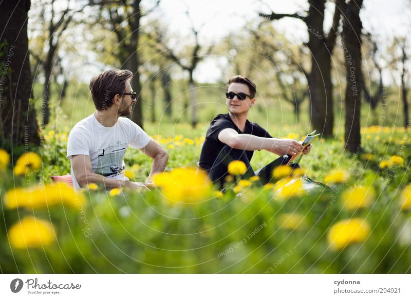 in the green Lifestyle Healthy Harmonious Relaxation Trip Freedom Human being Young man Youth (Young adults) 2 18 - 30 years Adults Environment Nature Landscape