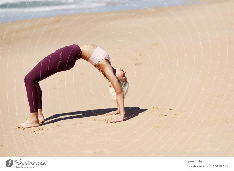 Caucasian blonde woman practicing yoga in the beach Woman Human being Nature Youth (Young adults) Young woman Summer Beautiful Ocean Relaxation Beach
