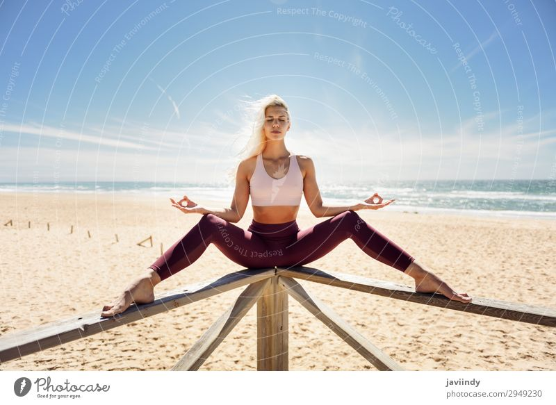 Caucasian blonde woman practicing yoga in the beach Woman Human being Sky Nature Youth (Young adults) Young woman Summer Beautiful Ocean Relaxation Joy Beach