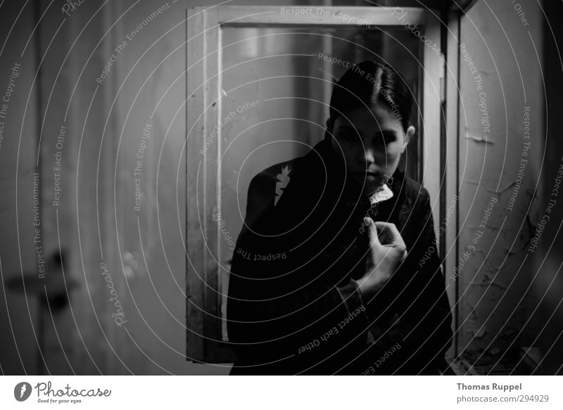 Human being Woman Youth (Young adults) Loneliness Young woman Face Adults Window Dark Wall (building) Feminine 18 - 30 years Wall (barrier) Adventure Threat Observe