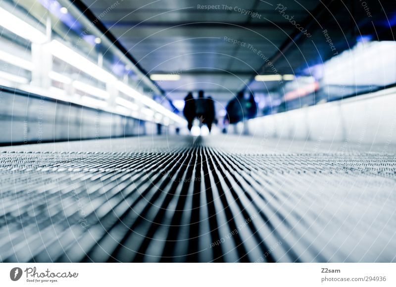 Goodbye! Vacation & Travel Tourism 3 Human being Architecture Escalator Running Going Walking Dark Far-off places Cold Modern Prompt Stress Beginning Movement
