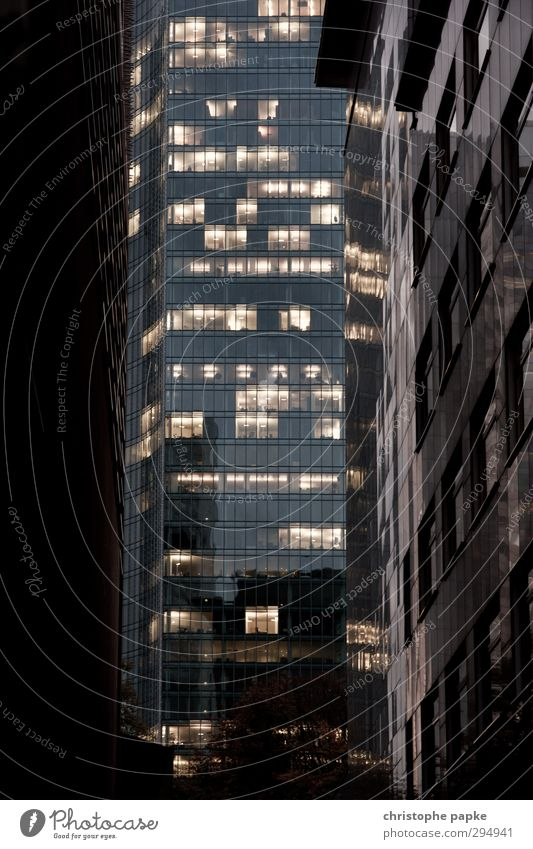 View of the banks Office Economy Financial Industry Business Closing time Frankfurt Town Downtown High-rise Bank building Architecture Modern Trade Competition