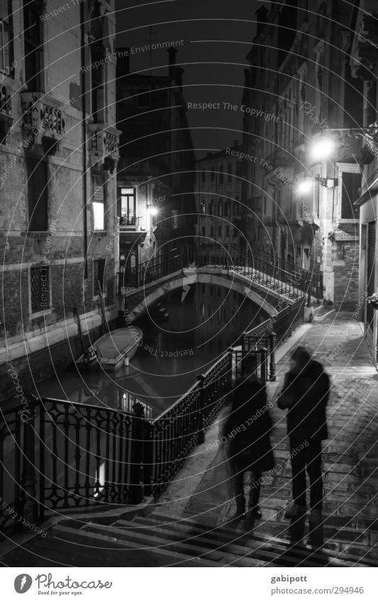 At night all bridges are grey Venice Old town House (Residential Structure) Stairs Facade Pedestrian Lanes & trails Bridge Paving stone Footpath Channel