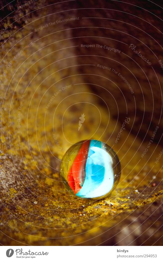 Round and colourful Marble Glass ball Glittering Illuminate Esthetic Positive Beautiful Blue Yellow Red Colour Pure 1 Contrast Spherical Colour photo