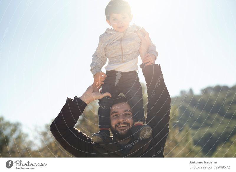 Father and son Child Human being Man Joy Lifestyle Adults Happy Playing Stand Baby Self-confident Embrace Flare Arabia Lift