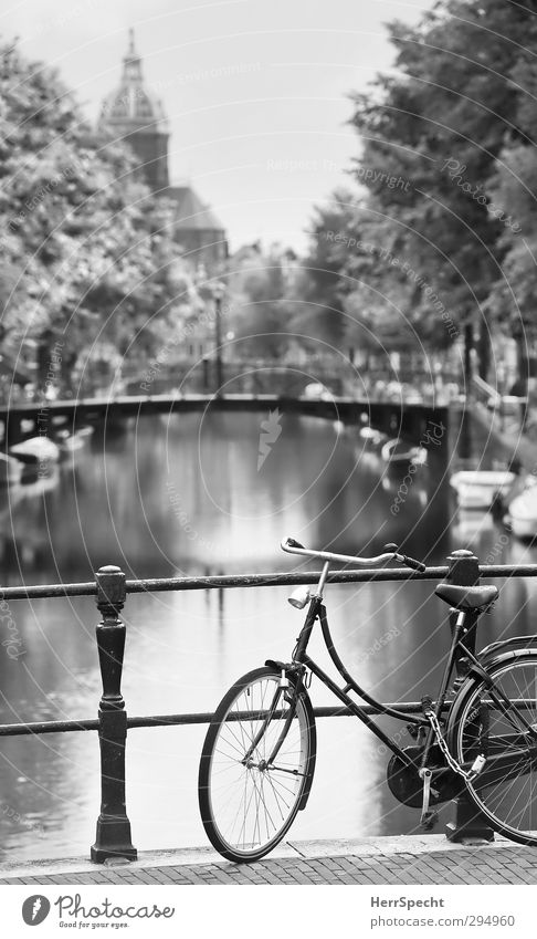 Amsterdam Cliché Netherlands Europe Town Old town Church Bridge Tourist Attraction Sint-Nicolaaskerk Bicycle Wait Esthetic Beautiful Idyll Gracht Parking area