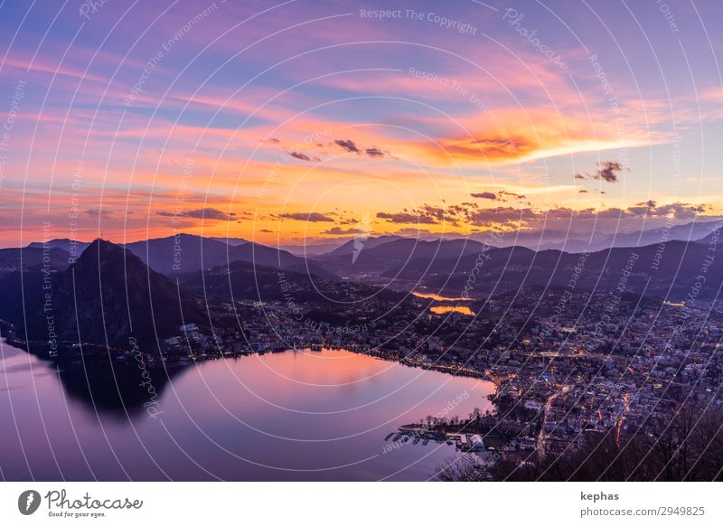 Sunset over the Lago di Lugano II Vacation & Travel Tourism Freedom Mountain Nature Sunrise Beautiful weather Alps Lake Lake Lugano Lago Ceresio Switzerland