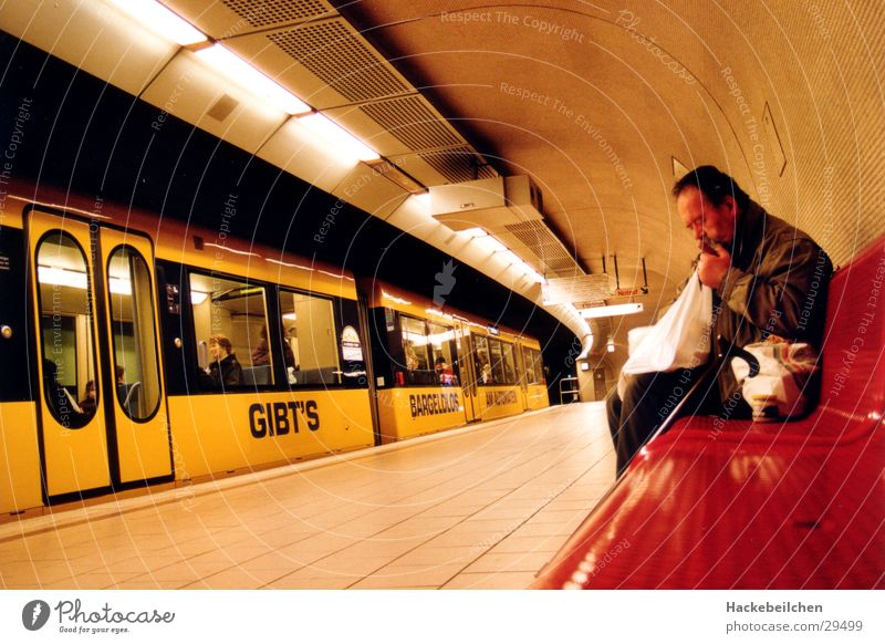 Recently at schlossplatz II Railroad Underground Search Transport Train station Commuter trains Town Bench Wait Male senior