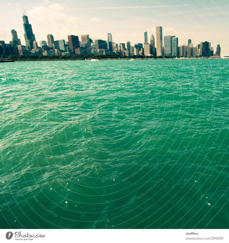 riverside Water Beautiful weather Lakeside Michigan Lake Chicago USA Town Skyline High-rise Wall (barrier) Wall (building) Exceptional Vacation & Travel