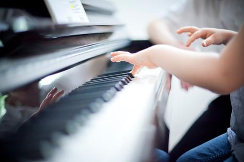 music Human being Child Hand Fingers Music Piano Blue Piano lessons Keyboard Effortless Make music Lessons music school Music tuition Colour photo Detail