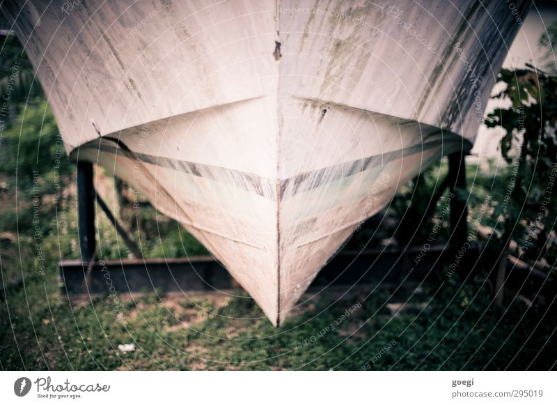 dry dock Fishing boat Motorboat Watercraft Harbour Dry dock Bow Spar varnish Hull Old drain drained Redevelop Wreck Colour photo Exterior shot Deserted Day