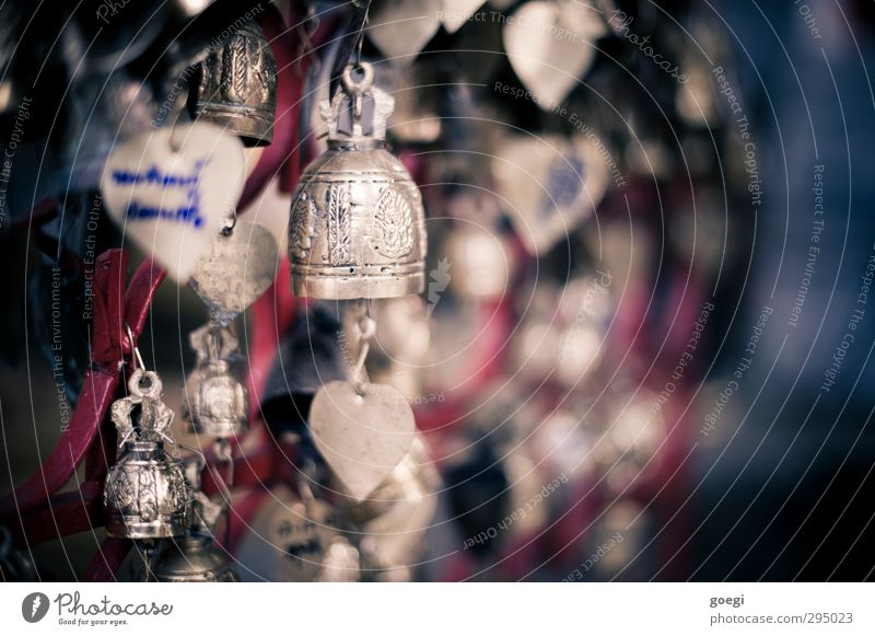 also hang on little bells Metal Blue Gold Red Belief Religion and faith Happy Glockenspiel Bell Good luck charm Love Brass Colour photo Exterior shot Deserted