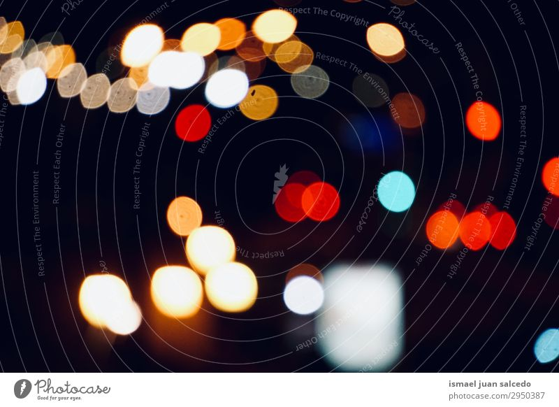 colorful bokeh lights in the city in the street at night Light Night Colour Multicoloured Blur Bright Street Exterior shot Abstract Consistency Pattern