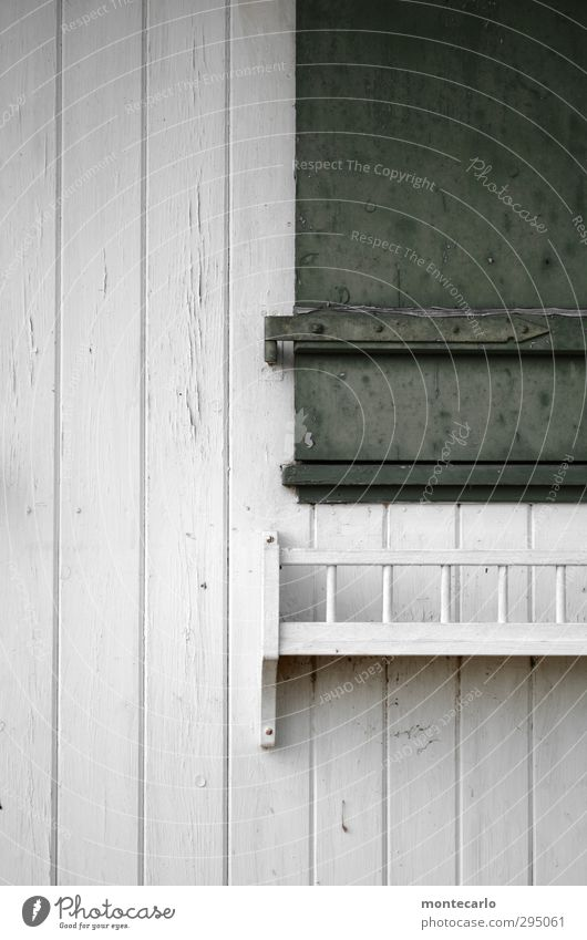 Closed Hut Window Shutter Window box Wood Old Authentic Simple Gloomy Green White Colour photo Multicoloured Exterior shot Detail Deserted Copy Space left Day
