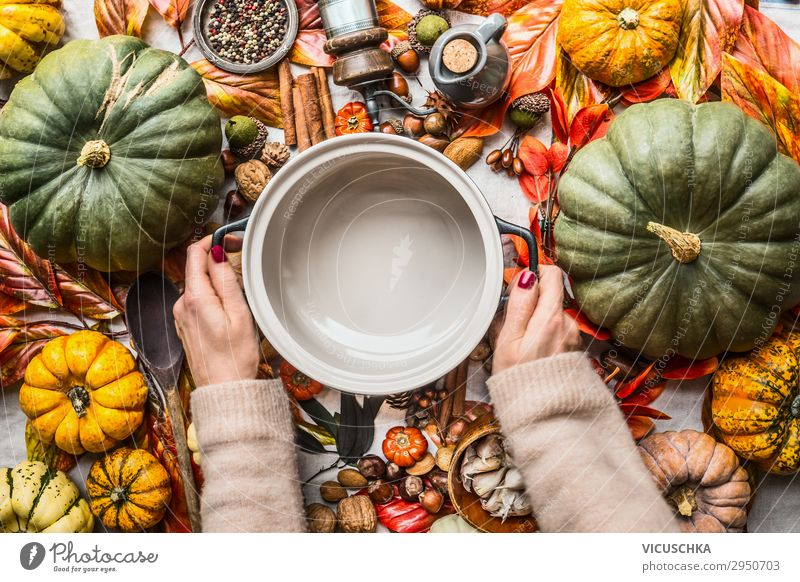 Hands keep pot on table with lots of autumn ingredients Food Vegetable Herbs and spices Nutrition Organic produce Vegetarian diet Crockery Pot Shopping Style