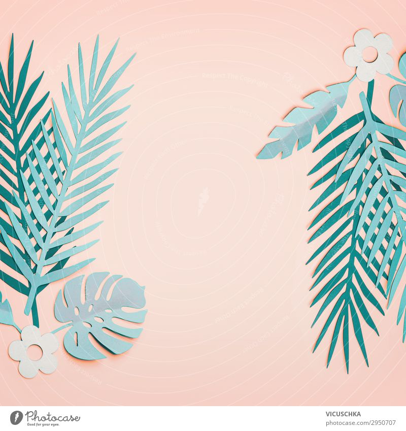 Tropical turquoise leaves on pastel pink background Style Design Vacation & Travel Summer Decoration Nature Leaf Oasis Paper Frame Background picture