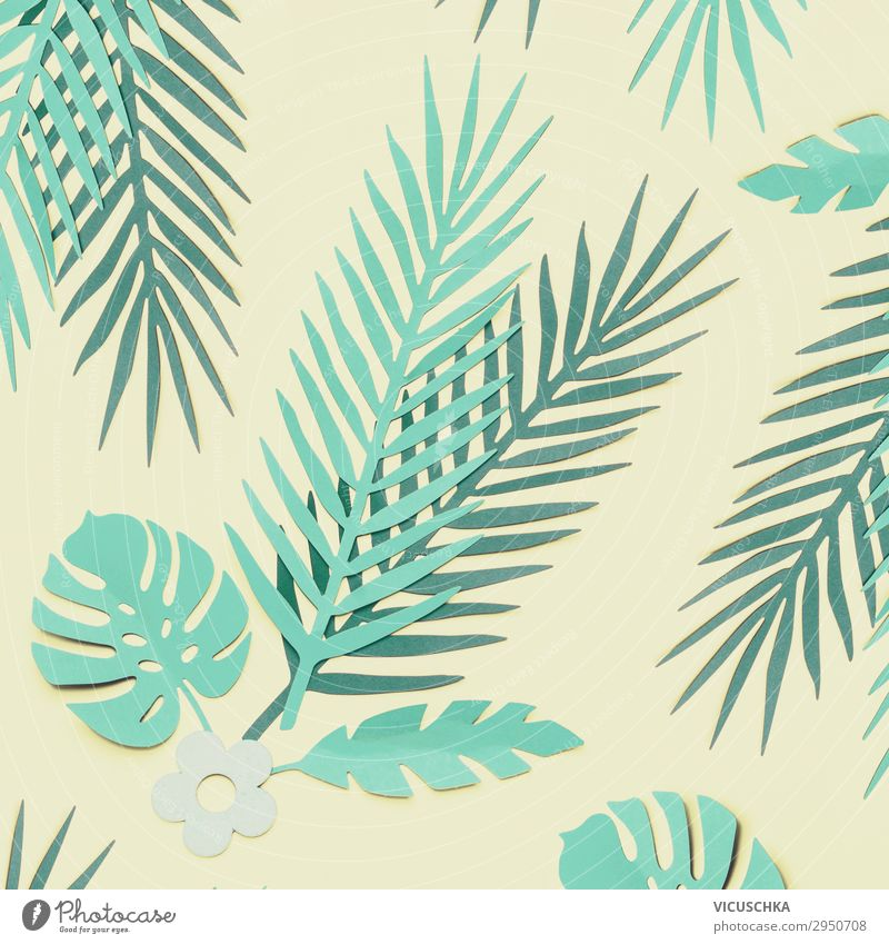 Turquoise Green Tropical Leaves Composing Style Design Beautiful Nature Plant Leaf Decoration Hip & trendy Background picture Conceptual design Square Hipster