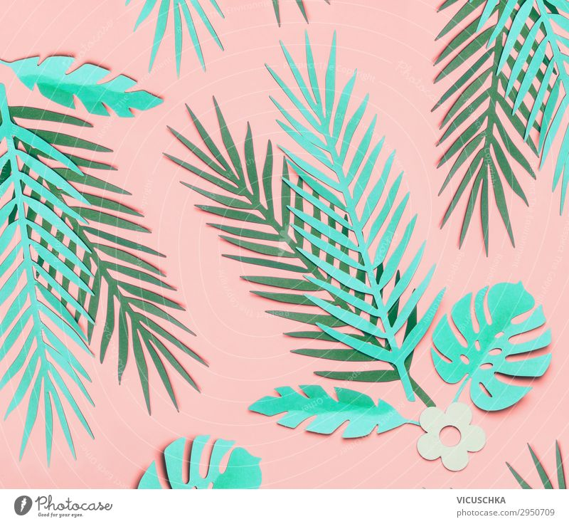 Tropical leaves pattern on pink background Design Summer Nature Plant Leaf Decoration Ornament Hip & trendy Pink Turquoise Background picture Square Hipster