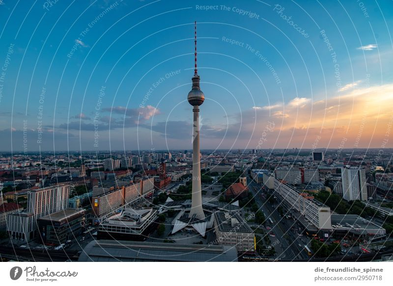 Sunset at the television tower I Television tower Vantage point Berlin Berlin TV Tower Panorama (View) Capital city Town Sky Architecture Alexanderplatz