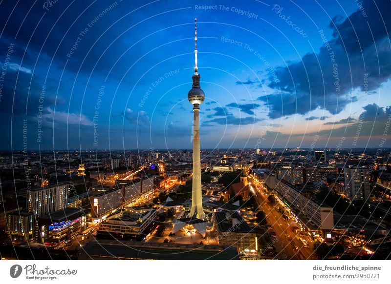 Sunset at the television tower II Television tower Vantage point Berlin Berlin TV Tower Panorama (View) Capital city Town Sky Architecture Alexanderplatz