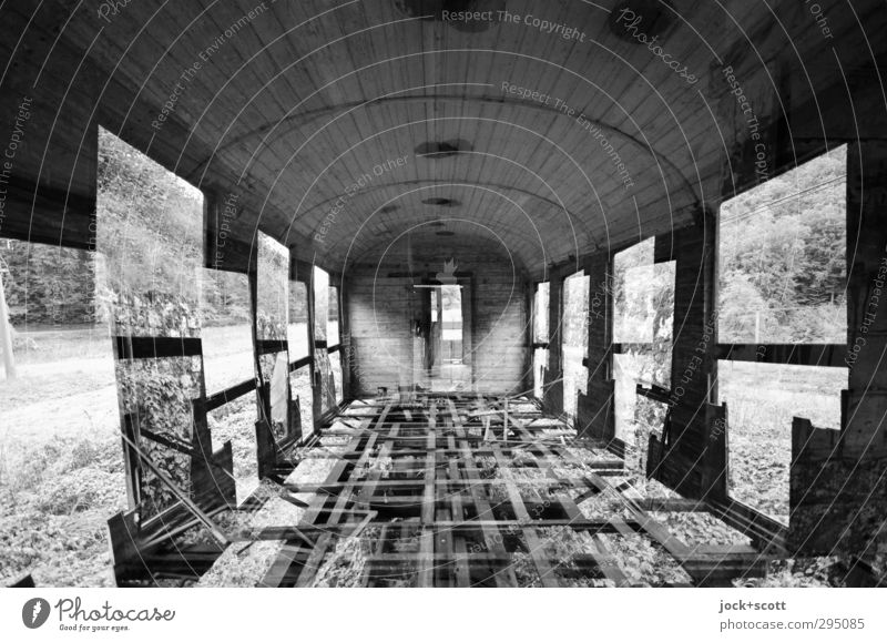 Two for one on the ghost train Rail vehicle Train compartment Exceptional Broken Apocalyptic sentiment Decline Change Double exposure Railroad car Illusion
