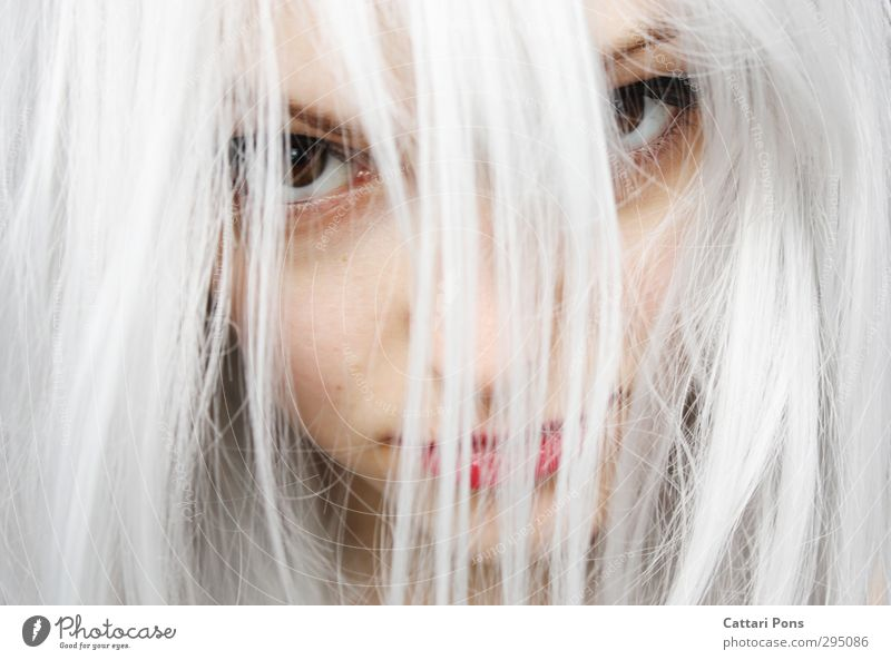 Feel Less Pain Hair and hairstyles Face Feminine Young woman Youth (Young adults) Woman Adults Blonde White-haired Long-haired Observe Looking Threat Beautiful