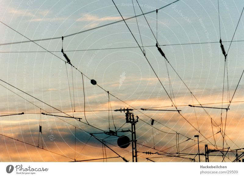 Sky Railroad Cable Railroad tracks Train station Flair Photographic technology