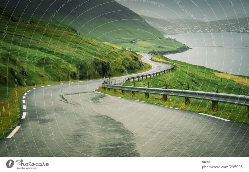coastal road Environment Nature Landscape Elements Sky Weather Bad weather Fog Meadow Mountain Coast Bay Fjord Ocean Island Transport Traffic infrastructure