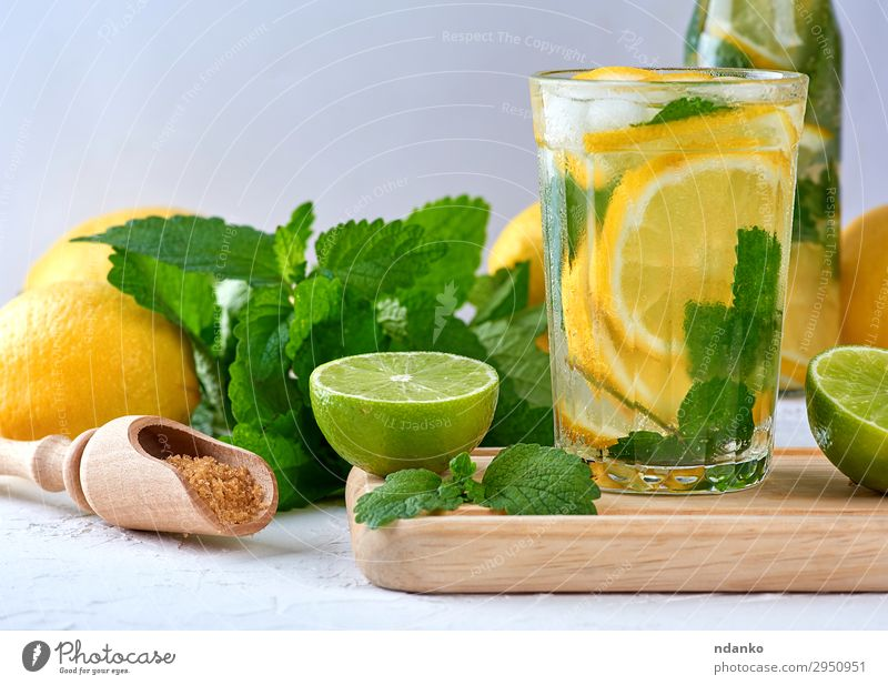 summer refreshing drink lemonade with lemons Summer Green White Leaf Yellow Fruit Fresh Glass Table Cool (slang) Herbs and spices Beverage Tradition Frozen