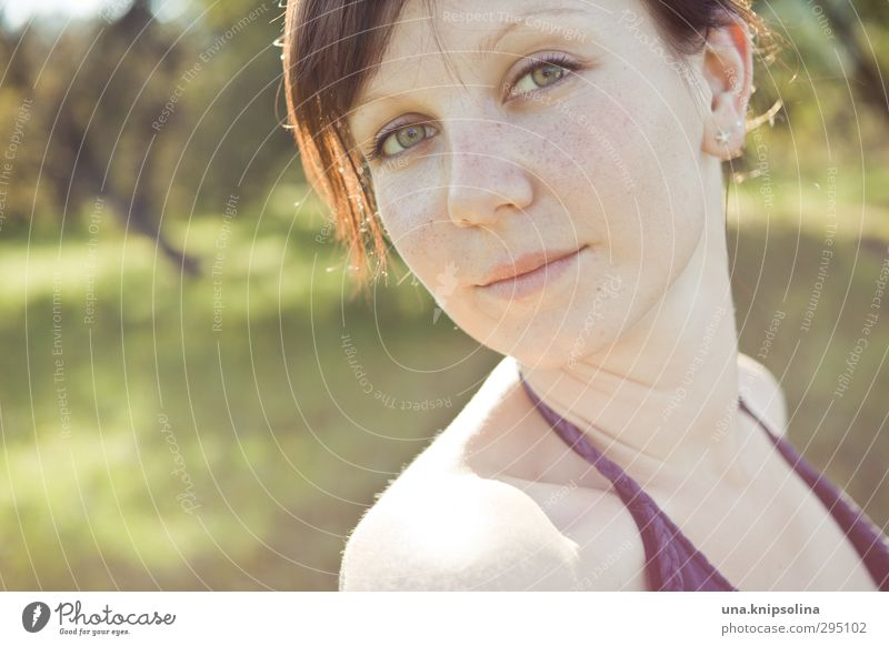 as light as a rainbow Beautiful Summer Sun Woman Adults Face 1 Human being 18 - 30 years Youth (Young adults) Nature Garden Park Meadow Brunette Long-haired
