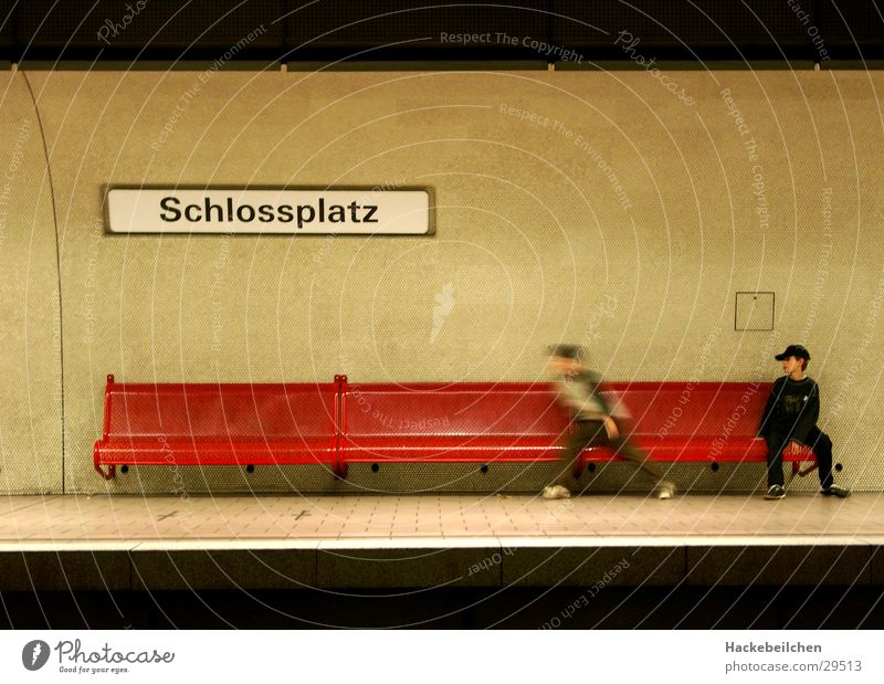 Child City Wait Transport Railroad Sit Human being Station Underground Stuttgart