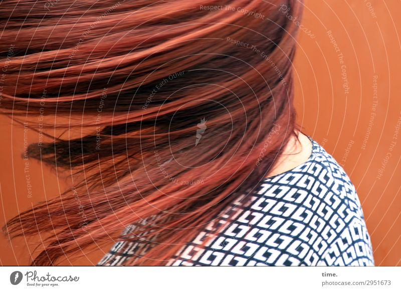Torque (III) Feminine Woman Adults Hair and hairstyles 1 Human being Wall (barrier) Wall (building) Sweater Red-haired Long-haired Movement Rotate Flying Dance