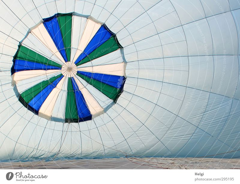 hot air Joy Leisure and hobbies Hot Air Balloon Balloon flight Freedom Plastic Wait Esthetic Authentic Exceptional Simple Large Blue Gray Green White