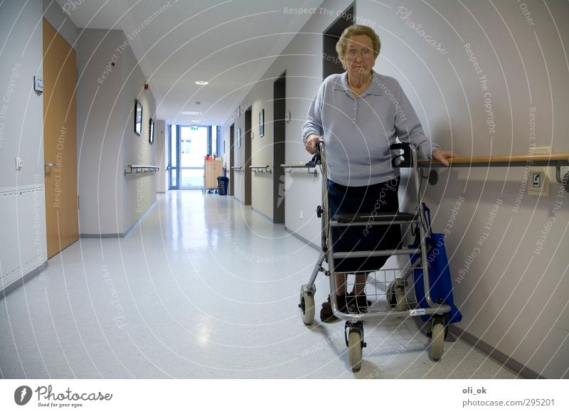 Alone in the home Feminine Grandmother Senior citizen 1 Human being 60 years and older Walking Old Loneliness Sadness Transience Colour photo Interior shot