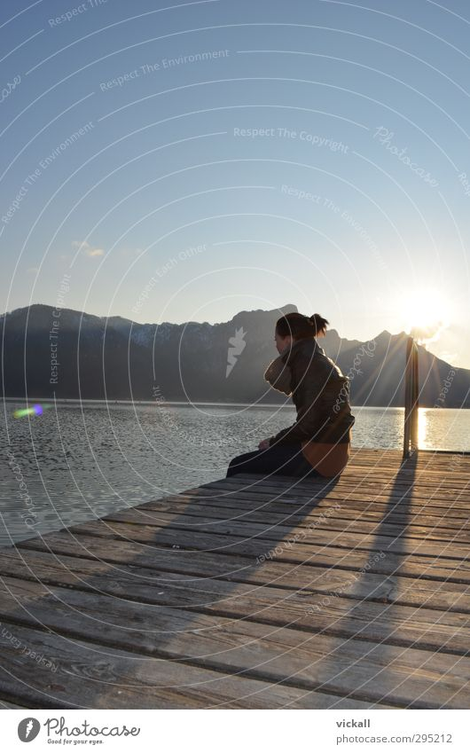 Human being Woman Sky Nature Youth (Young adults) Water Sun Relaxation Landscape Girl Adults Yellow Dark Mountain Feminine Sadness