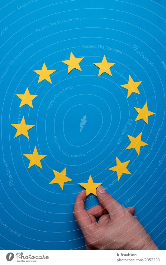 European election Education Economy Business Team Man Adults Hand Fingers Paper Decoration Sign Select To hold on Success Blue Yellow Might Fiasco Change