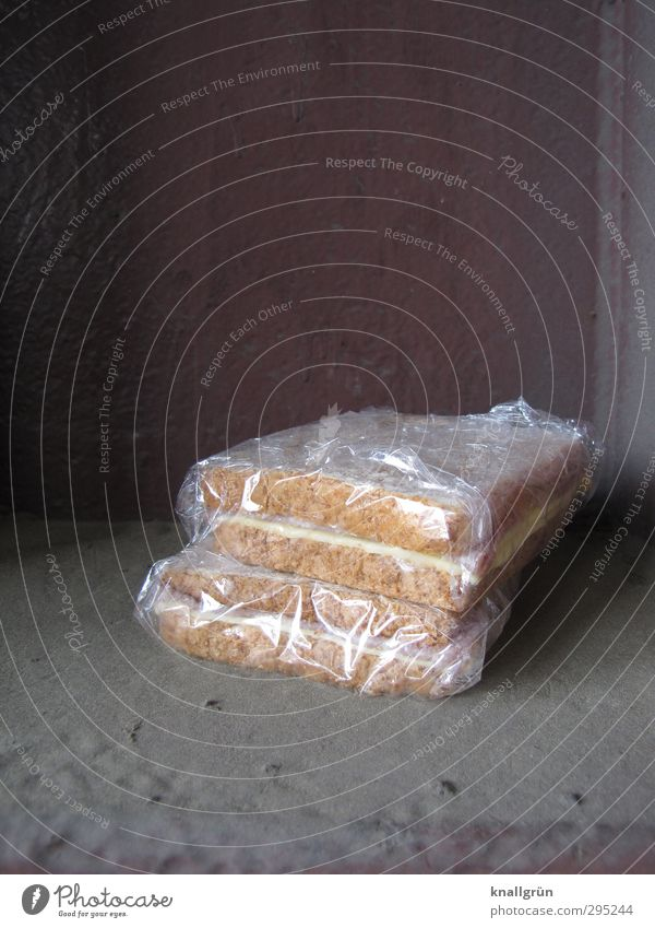 snack during breaks Food Cheese Bread Nutrition Snack Steel carrier cling film Cellophan Lie Dirty Sharp-edged Delicious Town Brown Gray Emotions Appetite