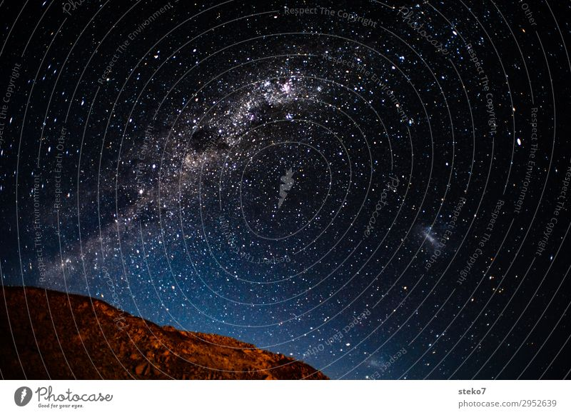 desert night Night sky Stars Mountain Exceptional Far-off places Dream Infinity Universe Namibia Starry sky Milky way Deserted Copy Space top Copy Space middle