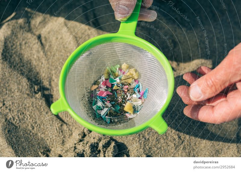 Colander with microplastics on the beach Human being Man Old Hand Beach Adults Environment Sand Dangerous Plastic Indicate Trash Mature Teamwork Grandfather